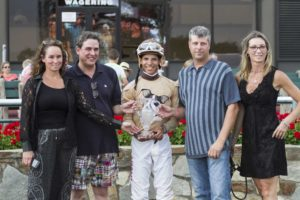 Trainer Marya Montoya and jockey Jorge Vargas both recorded their first stakes victory in the $75,000 Banjo Picker Stakes. ©Nikki Sherman